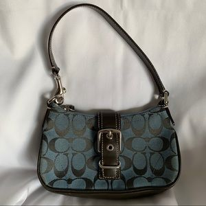 COACH Blue Canvas & Leather Little Handbag